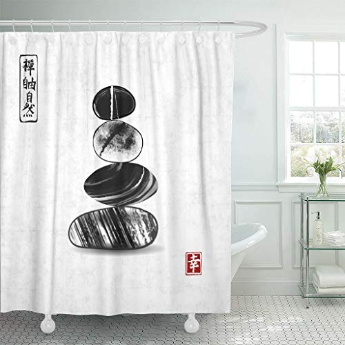 - Emvency Fabric Shower Curtain with Hooks Pebble Zen Stones Balance on Rice Traditional Japanese Ink Painting Sumi E Contains 72