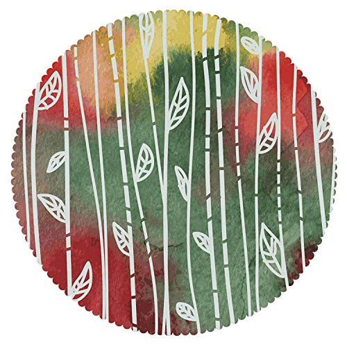 iPrint Stylish Round Tablecloth [ Watercolor,Doodle Style Leaves on Stems Grunge Motley Backdrop Dirty Look Exotic Decorative,Jade Green Yellow Red ] Duty Cute Fabric
