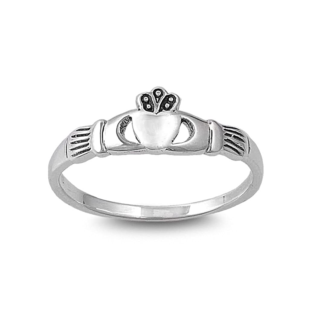 Princess Kylie 925 Sterling Silver Mini Claddagh Sign Ring