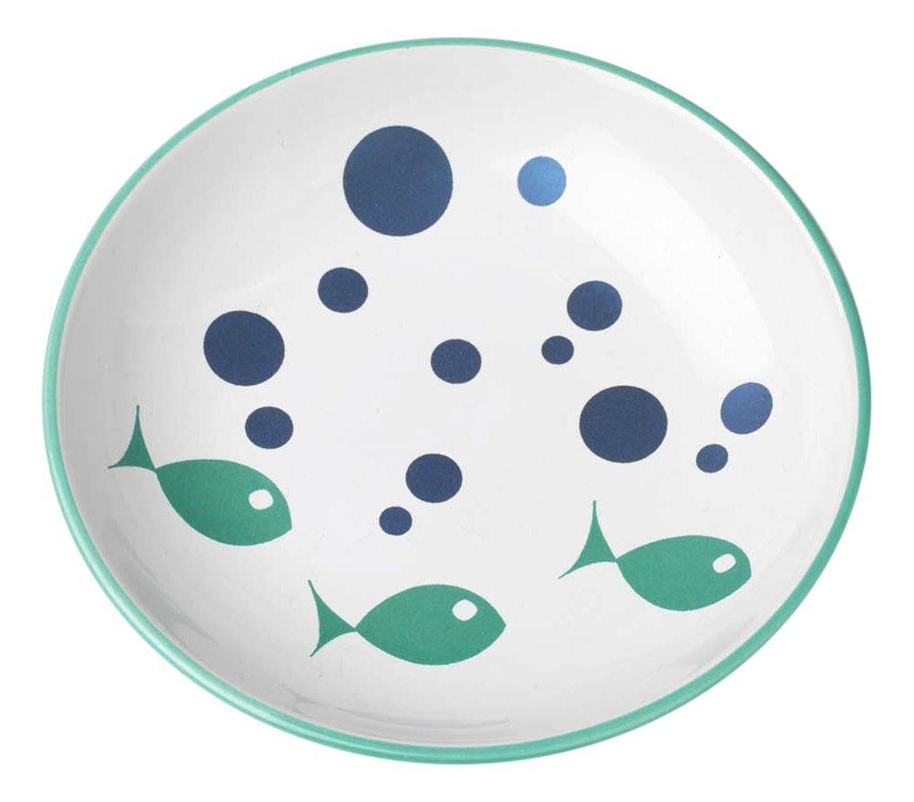 Pet Rageous Bubble Fish Saucer Shimmer, 2.5 oz/5'', White/Turquoise