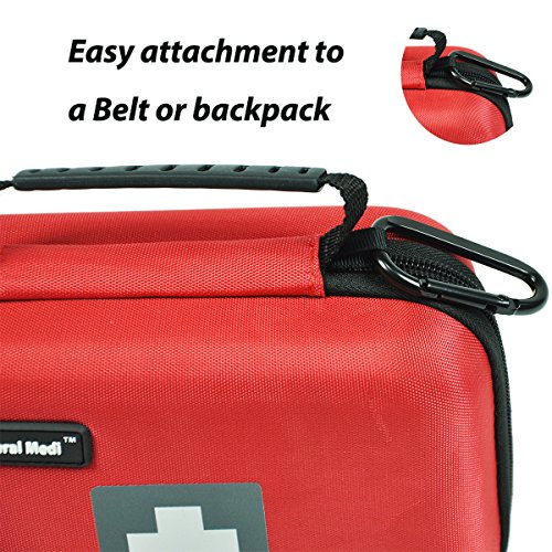 First Aid Kit,210 Pieces Survival Kit Bag - Includes Instant Cold Pack,Thermometer,Scissors,Bandages,Whistle for Travel, Home, Office, Vehicle,Camping, Workplace & Outdoor (Red) by General Medi (Image #3)