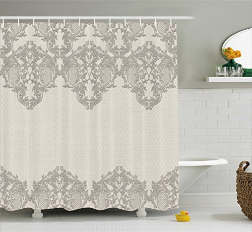 Taupe Shower Curtain by Ambesonne, Lace Like Framework Borders with Arabesque Details Delicate Intricate Retro Dated Print, Fabric Bathroom Decor Set with Hooks, 70 Inches, Taupe