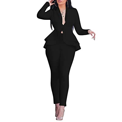 Salimdy Sexy 2 Piece Outfits for Women Long Sleeve Solid Blazer with Pants Casual Elegant Business Suit Sets: Clothing