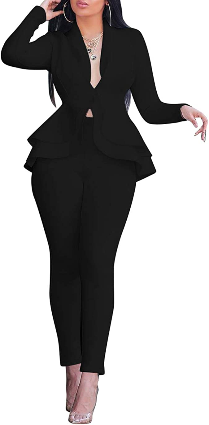 Long Sleeve Casual Elegant Business Suit Sets Womens Ruflled Blazer with Pants