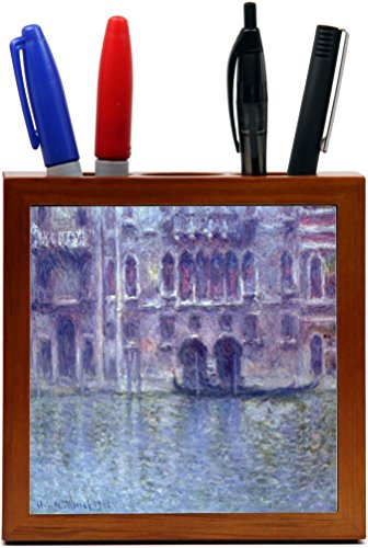 Palazzo Cherry (Rikki Knight Claude Monet Art Palazzo De Mula Design 5-Inch Wooden Tile Pen Holder (RK-PH3561))