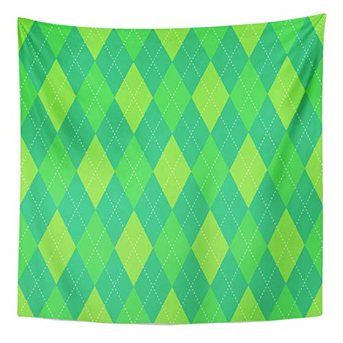 Semtomn Tapestry Wall Hanging Home Art Green Argyle Plaid Pattern Traditional Diamond Check for Digital 50