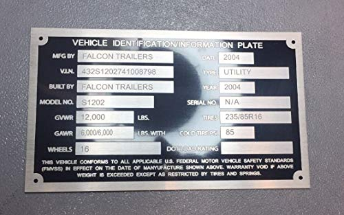 - Decal USA Universal Semi Freight Trailer ID Plate DOT Accepted Model VIN# Custom Engraved