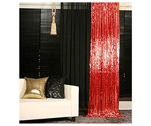 - Sequin Curtains 2 Panels Red 2FTx8FT Sequin Photo Backdrop Red Sequin Backdrop Curtain Pack of 2~1011E