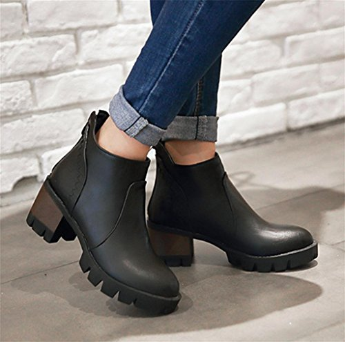 Heel Martin Women shoes Round Black Elegant Tassel Boots Martin Short Toe Boots Heels Ankle High Personality HETAO wIZxqEgP