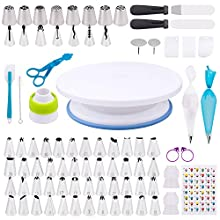 Cake Decorating Kit - Complete Cake Decorating Supplies& Baking Kits 132Pcs with Cake Turntable,Russian Piping Tips,Silicone Piping Bag,50 Disposable Pastry Bag/Cake Baking Tools Gift Set for Beginner