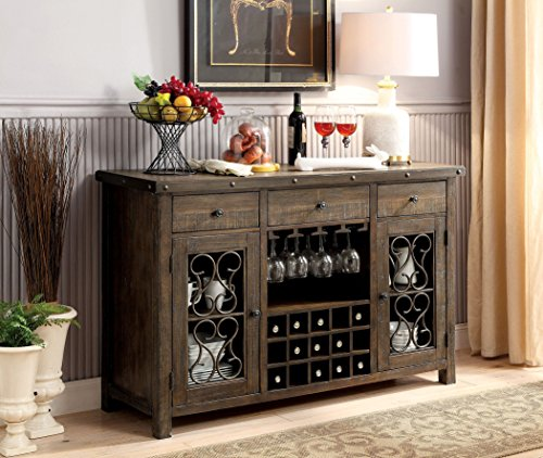 Furniture of America CM3465SV Paulina Rustic Walnut Server Dining Room ()