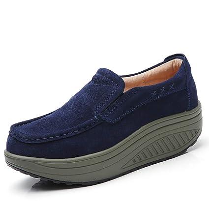 Fuxitoggo Zapatos de Piel Suave de Mujer Rocker Sole Mocasines Casaul (Color : Azul,