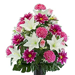 Ruby's Silk Flowers Beauty Gerbera and White Lily Mix Artificial Bouquet, Featuring The Stay-in-The-Vase Design(c) Flower Holder (LG2174) 29