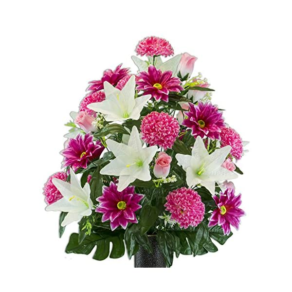 Beauty-Gerbera-and-White-Lily-Mix-Artificial-Bouquet-featuring-the-Stay-In-The-Vase-Designc-Flower-Holder-LG2174