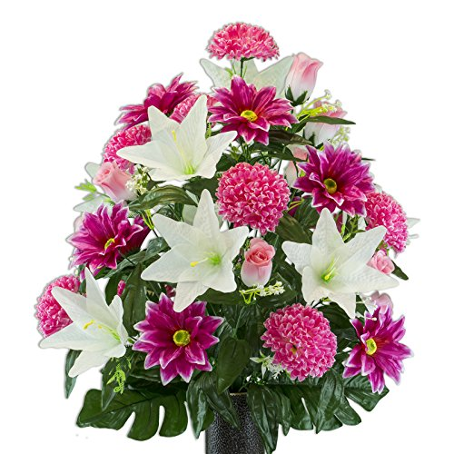 Ruby's Silk Flowers Beauty Gerbera and White Lily Mix Artificial Bouquet, Featuring The Stay-in-The-Vase Design(c) Flower Holder (LG2174)