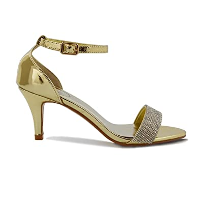 ESSEX GLAM Womens Low Stiletto Heel Ankle Strap Peep Toe Gold Metallic Diamante Sandals 5 B