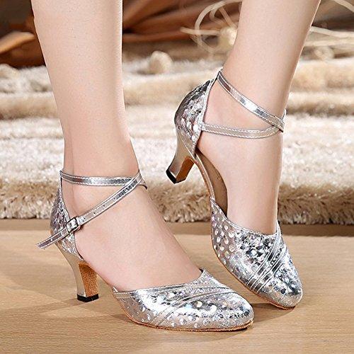Tamaño Silver de 240 Baile 5cm Moderna de Resistente 3 Adulto Zapatos Danza Silver LIXIONG UK5 6cm Suave Colores 5 Alto Desgaste Tacón Fondo al Latina EU38 Moda Zapatos Color Mujer 15pgqnw