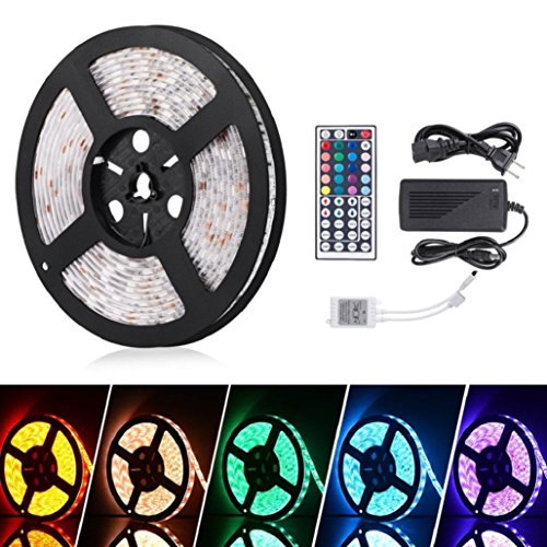 StripSun LED Strip Lights SMD 5050 Waterproof 16.4ft 5M 300leds RGB Color LED 5A ,8 Light Pattern,Tuscom