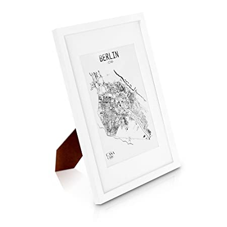 Solid Wood A3 Photo Frame White With Picture Mount For A4 Photo Or