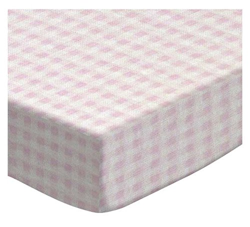 SheetWorld Fitted Cradle Sheet - Pink Gingham Jersey Knit - Made In USA