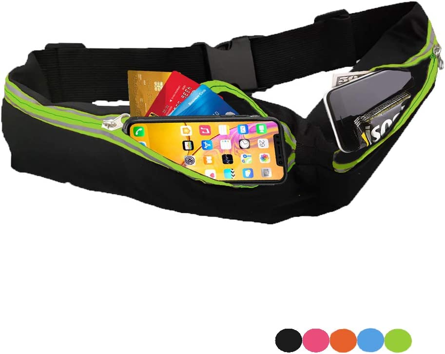 ENGYEN Running Belt, Fanny Pack for Women Men, Small Waist Bag for Runners Workout Hiking, Carrying Phone, Money, Multi Colors Black, red, Blue and More