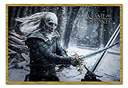 Game Of Thrones White Walker Poster Magnetic Notice Board Oak Framed - 96.5 x 66 cms (Approx 38 x 26 inches)