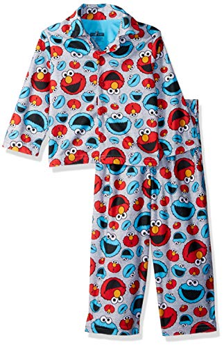 (Sesame Street Boys' Toddler' Elmo and Cookie Monster 2-Piece Pajama Coat Set, Gray Giggles, 2T)