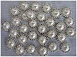 Flat Back Rhinestone Buttons – LeBeila Flatback Embellishments 15 MM Crystal Pearl Fabric Sewing Fasteners Glue On Metal Accessories For Craft, Wedding Dress & Clothing Decorations (10 pcs, white)