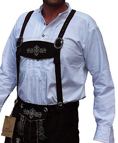Trachtenhemd Weiß Hemd für Lederhose mit Stehkragen 100% Baumwolle (L)