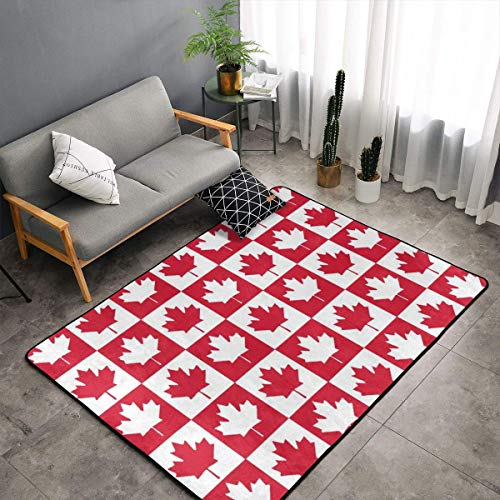 Canada Flag Maple Leaves Seamless Pattern Floor Rug Non-Slip Doormat For Living Dining Dorm Room Bedroom Decor 60x39 Inch