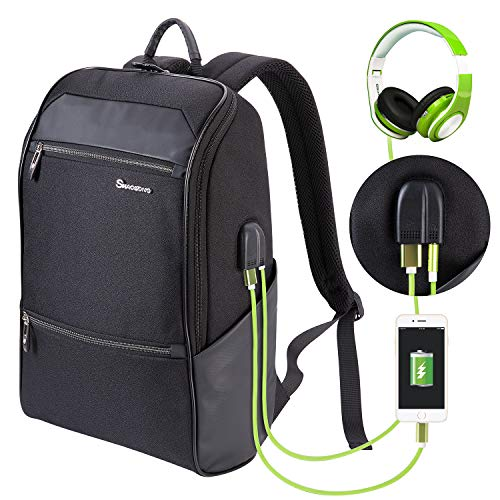 Laptop Backpack for Men & Women with Waterproof, Travel/School Backpack with USB Charging Port & Headphone Interface, Slim Business/Work Computer Bag Fit 15.6 to 17 Inches Laptop/Notebook/DSLR