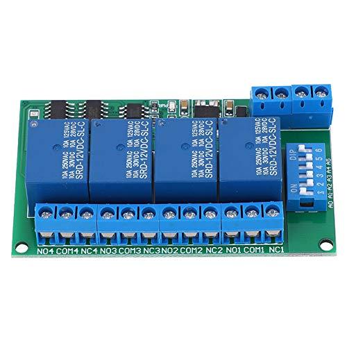 Interruptor de temporizador de retardo DC 12 V m/ódulo de rel/é de 4 canales RS485 AT mando a distancia