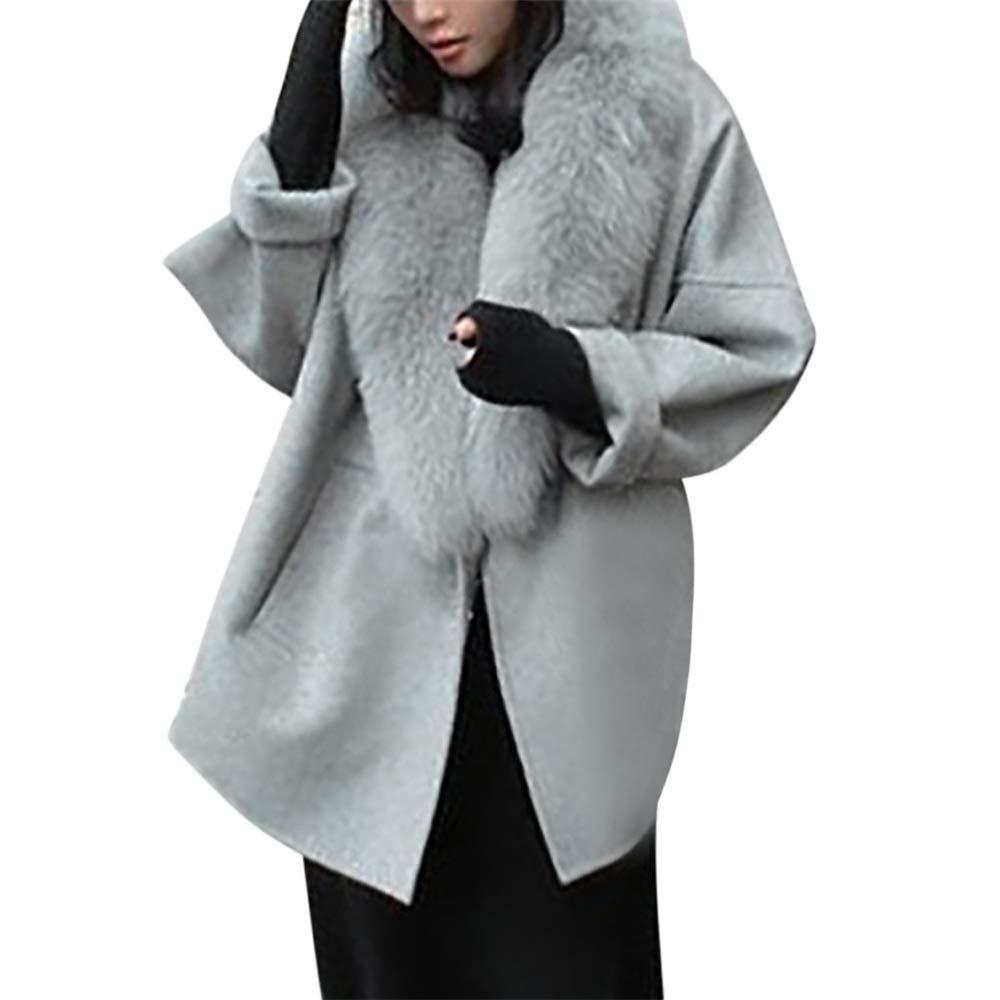 Quelife Women Wool Coats Collar Plus Size Winter Cashmere Warm Loose Collar Woolen Coat(Gray,XL)