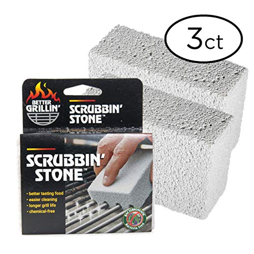 Better Grillin' Scrubbin' Stone Grill Cleaner - Scouring Brick/Barbecue Grill Brush/Barbecue Cleaner - Advanced Green Technology Easily Removes Grime and Grease from BBQ, Grills, Griddles, Racks (3)