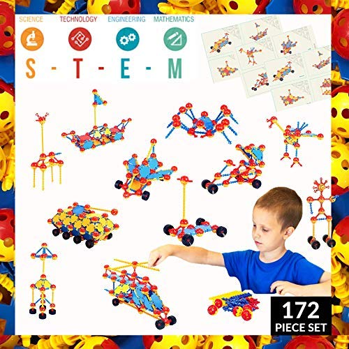 Tinkertoy Set Building - Crafty Connects STEM Building Toys Set, Tinker and Take Apart to Spark Creativity in Kids and Toddler, Educational Learning Toy for Boys and Girls Ages 3 4 5 6 7 8 9, Gifts for Kindergarten Pre K Age