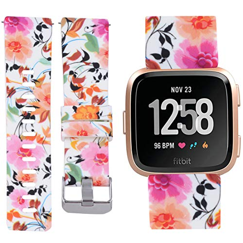 Allbingo Fitbit Versa Cute Bands,Women Men Floral Replacement Strap Wristband Small Large for Fitbit Versa Smart Watch (Beautiful Natural, Small)