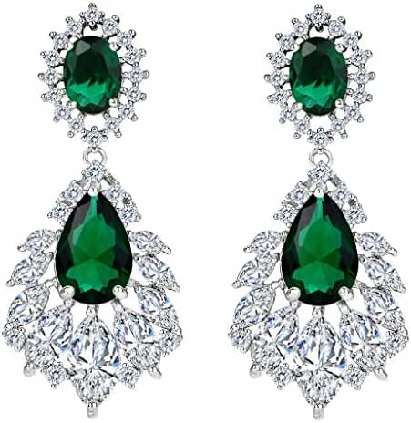 BriLove Women's Wedding Bridal Cubic Zirconia 1920s Peacock Feather Shaped Chandelier Dangle Earrings