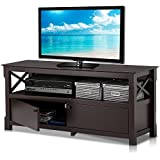 Topeakmart Wood TV Stand Unit with 2 Doors Storage Cabinets and Open Shelf for Flat Screens, Espresso