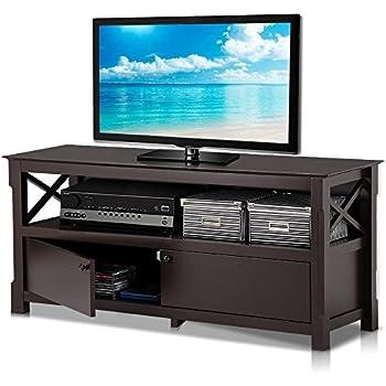 Amazon Topeakmart Wood Tv Stand Unit With 2 Doors Storage
