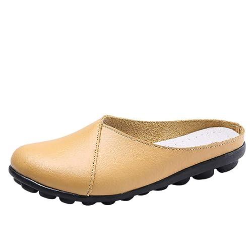Mocasines Planos de Fondo Suave Zapatillas de Cuero para Mujer, QinMM Zapatos cómodos del otoño del Verano Sandalias Merceditas Chanclas: Amazon.es: Zapatos ...