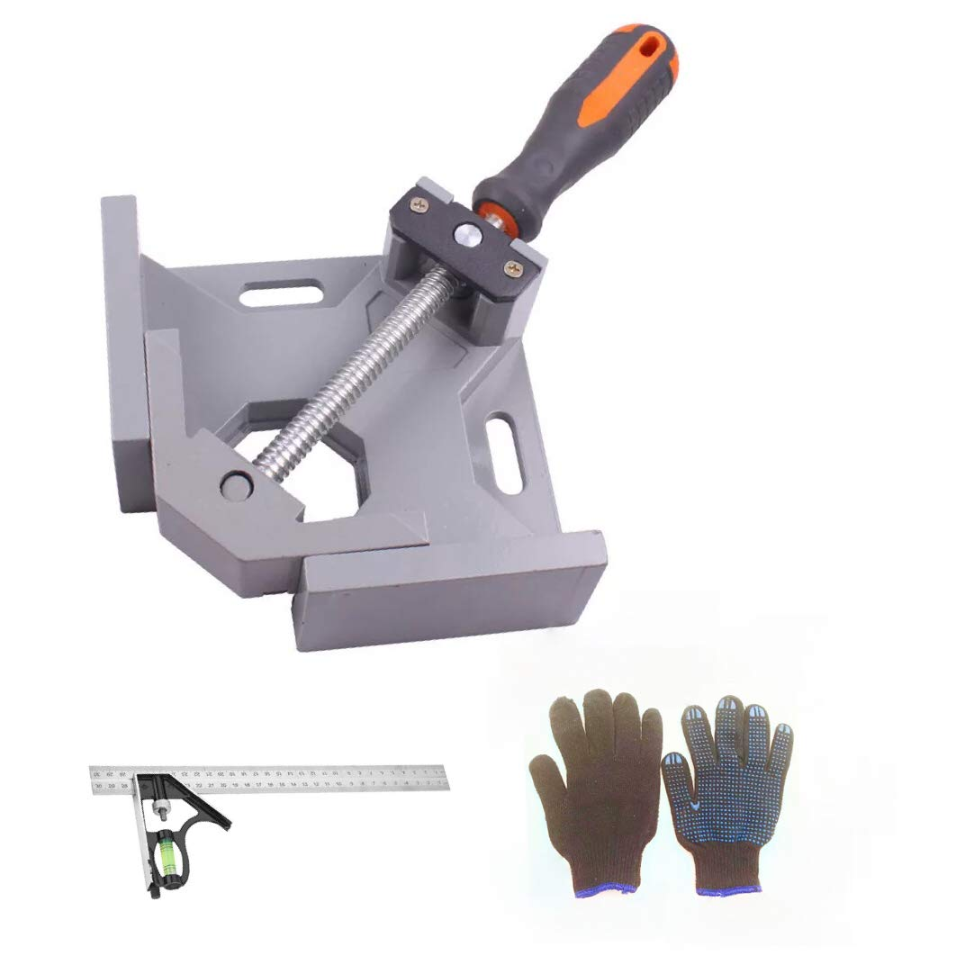 Right Angle Clamp, Single Handle 90° Aluminum Alloy Corner Clamp tools for Carpenter,Welding,Wood-working,Engineering,Photo Framing Right Angle Clip Clamp Holder with Adjustable Combination Square (1)