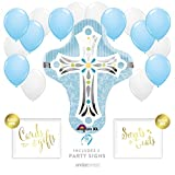 Andaz Press Balloon Party Kit with Signs, Boy Baptism Christening Confirmation, Cross with Baby Blue and White Balloons, Hanging Decor, Hanging Decorations, 19-Piece Kit, Christian, Catholic, Easter