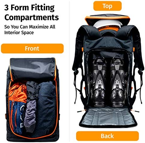 Ski Boot Bag Backpack 50L - Snowboard & Ski Boots, Helmet Travel Bag for Flying Air Travel - Ergonomic Skiing Gear Accessories (Gloves, Jacket, Goggles) Carrier Luggage with Adjustable Straps…