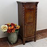 International Caravan 3809-IC Furniture Piece Carved Wood 1 Drawer/1 Door Tall Cabinet