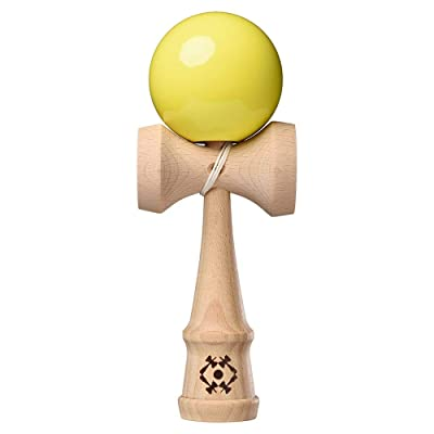 Kendama USA - Tribute Kendamas - Wooden Skill Toy - Neon Yellow Extra String Bead & Stickers Included: Toys & Games