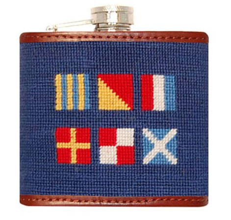 Smathers & Branson Got Rum Needlepoint Flask - Classic Navy (Flask-02) (Needlepoint Flask)
