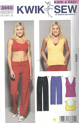 Kwik Sew 3660 Misses' Top, Bra and Pants Bust 31 1/2 to 45 Sewing Pattern supplier:sailorsparadise by instrainclug
