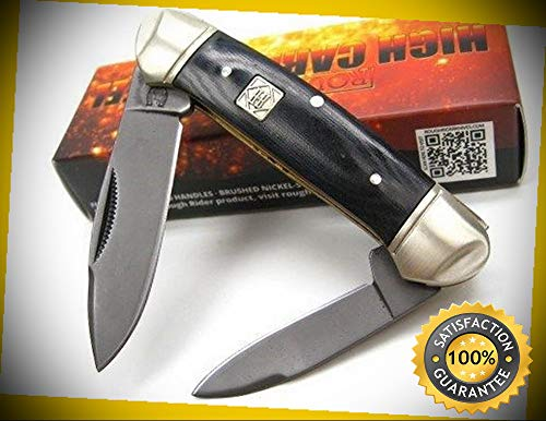 Black Canoe 2 Blade Carbon Steel Folding Pocket Sharp Knife 1571 perfect for outdoor camping hunting ()