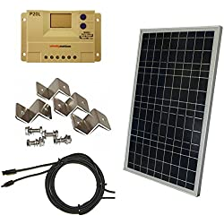 Complete 30 Watt Solar Panel Kit: 30W Polycrystalline Solar Panel + 20A Charge Controller + MC4 Connectors + Mounting Z brackets for 12V Off Grid Battery Charging Boat RV Gate