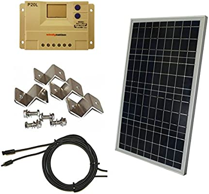 WindyNation Complete 30 Watt Solar Panel Kit: 30W Polycrystalline Solar  Panel + 20A Charge Controller + MC4 Connectors + Mounting Z Brackets for  12V